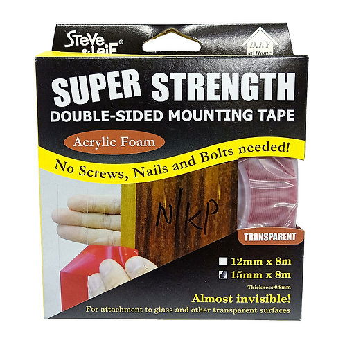 Steve & Leif Double-Sided Acrylic Foam Clear Tape 4484 15mmx8m