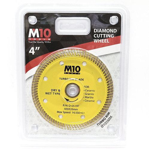 M10 4'' Diamond Cutting Wheel Turbo Rim Dry & Wet Type 105x20mm