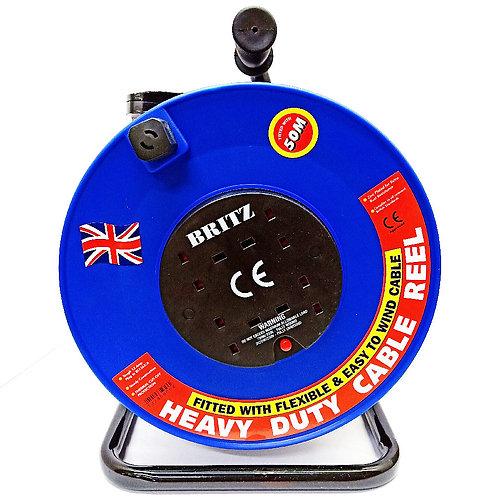 BRITZ 50m HD Cable Reel 4-Socket