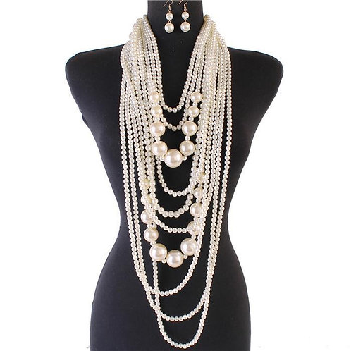 PEARLS 10 LINES NECKLACE SET