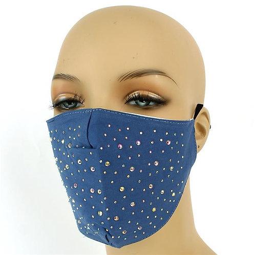 Blue Rhinestone Fashion Mask