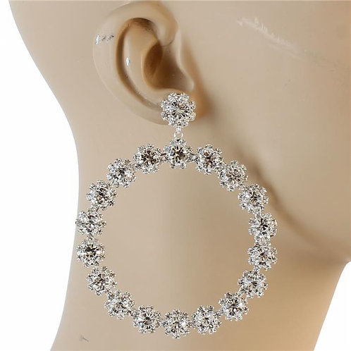 Crystal Flower Hoop Earrings