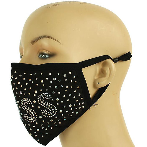 FASHION RHINESTONES BOSS FACES MASK -