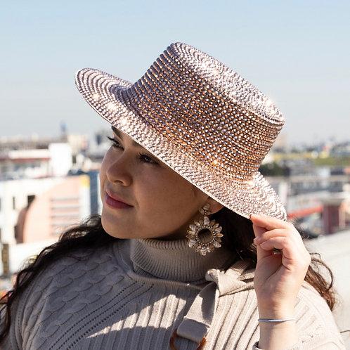 Chrome Rhinestone flat top hat