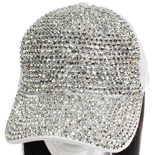 RHINESTONE WHITE CAP