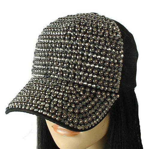 Rhinestone Black Cap