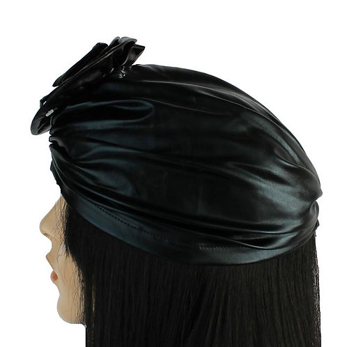 Faux Leather Flower Turban