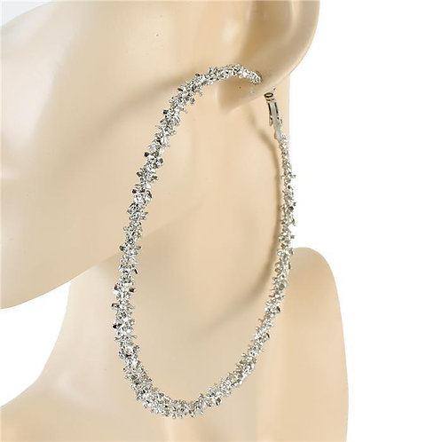 100 MM METAL HAMMERED HOOP EARRING