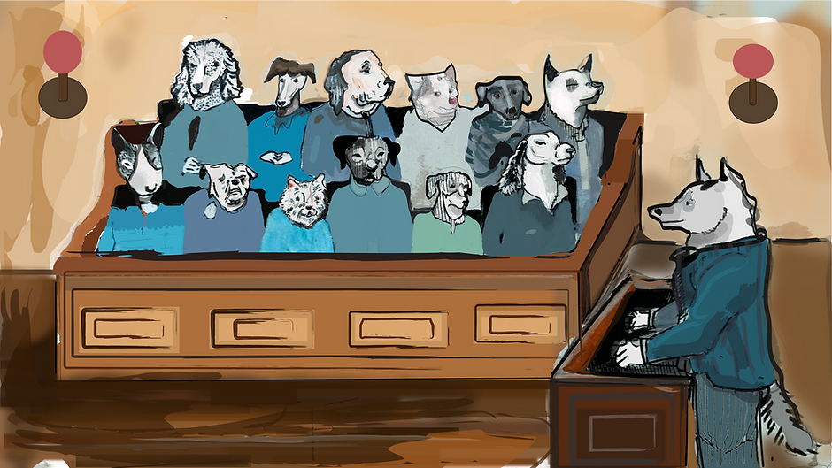 Watercolor Painting of a Jury and Lawyer who are dogs. Painting By Maura McMahon