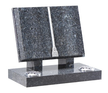 Bible Memorial Stone with two flower vases