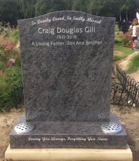 Memorial Head Stone & Flower Vase