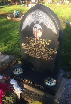 Memorial stone with photograhy image