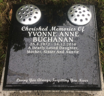 Cremation Memorial Plaque with two flower Vases