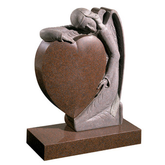 Heart and Angel Memorial Stone