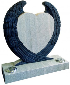Angel wings around a heart Memorial stone