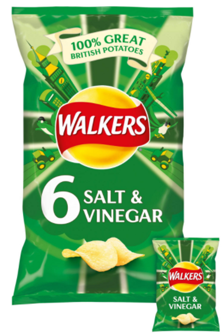 Walkers 6pk Salt & Vinegar Crisps  #73575