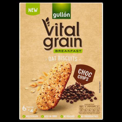 Gullón Vital Grain Breakfast Oat Biscuits Choc Chips 6 x 40g (240g) #78625
