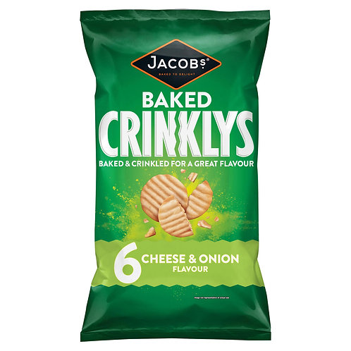 Jacobs Crinklys Cheese & Onion Flavour Baked Snacks 6 Pack 150g #71507