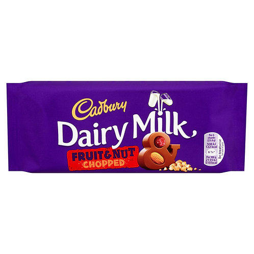Cadbury Dairy Milk Fruit and Nut Chopped Chocolate Bar 95g #64556