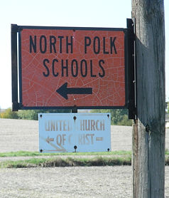 Directional Highway sign for North Polk Schools
