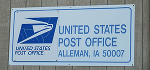 USPS Post Office sign at their Alleman, IA location