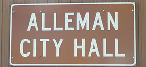 Alleman City Hall Sign.