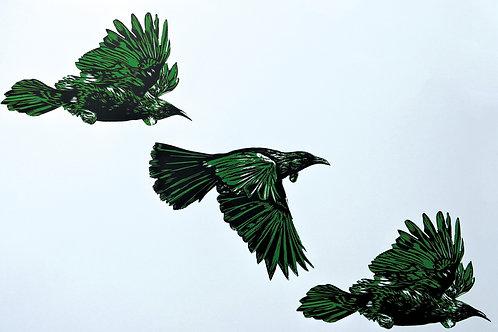 3 Tui Flying (Green) - Wood Cut Print