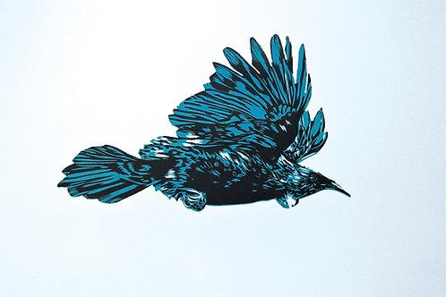 Flying Tui (Blue) - Wood Cut Print