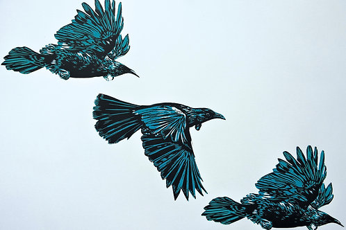 3 Tui Flying (Blue) - Wood Cut Print