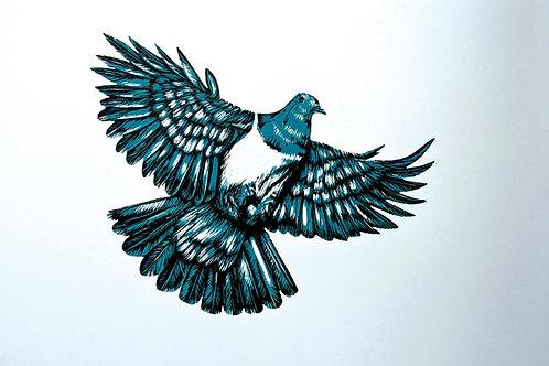 Flying Kereru - Wood Cut Print