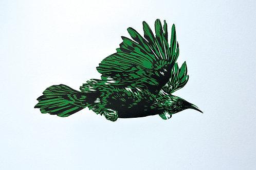 Flying Tui (Green) - Wood Cut Print