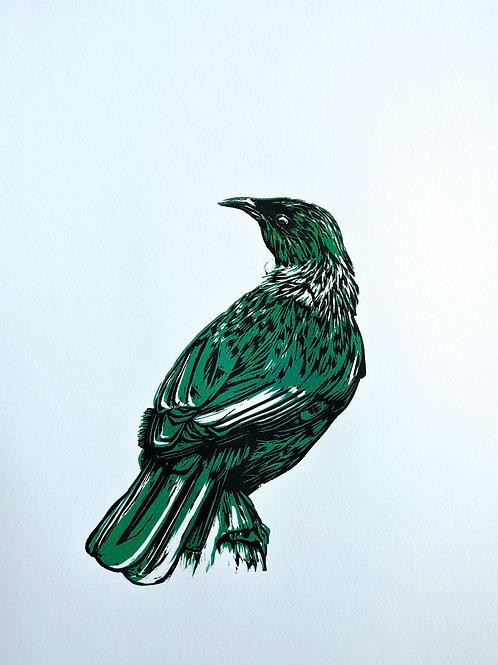 Sitting Tui (Green) - Wood Cut Print