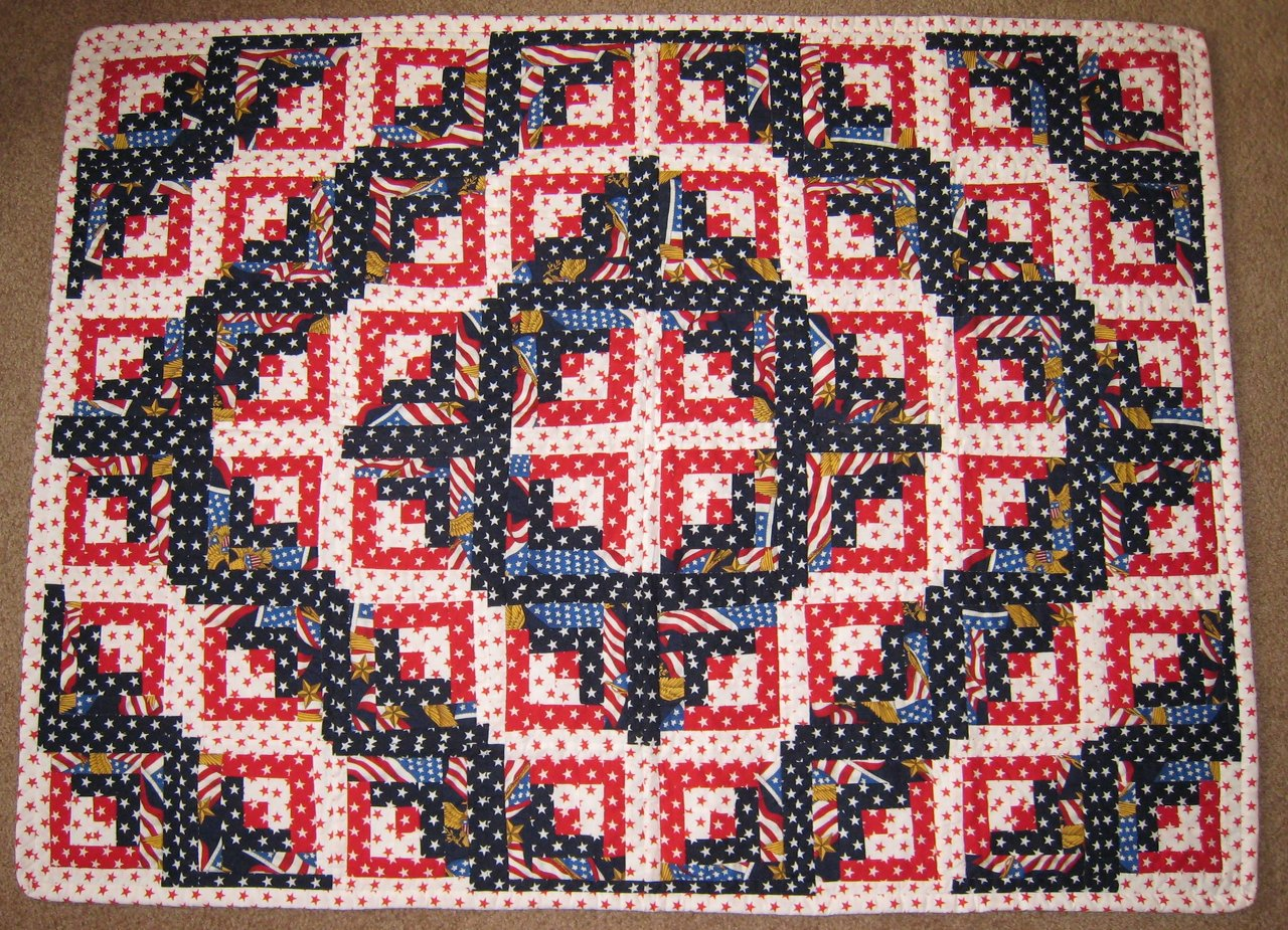 Log Cabin Patriotic Quilt
