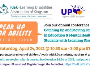 Speak Up for Ability 2021: Online Parents Forum, Saturday, April 24 from 10:30am - 3:00pm ET