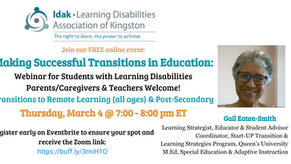 Webinar: Making Successful Transitions in Education for Students with Learning Disabilities