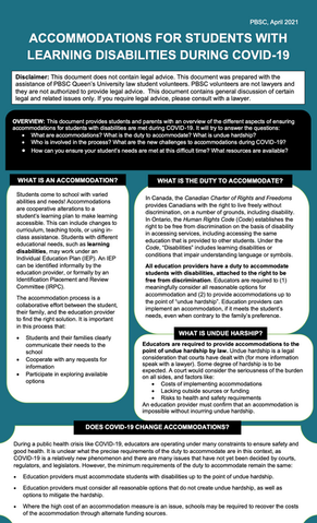 Informational Poster: Accommodations for Students with Learning Disabilities during Covid-19 - 2021