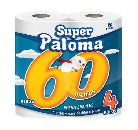 PAPEL HIGIÊNICO PALOMA FOLHA SIMPLES PACOTE 4 ROLOS 60 METROS