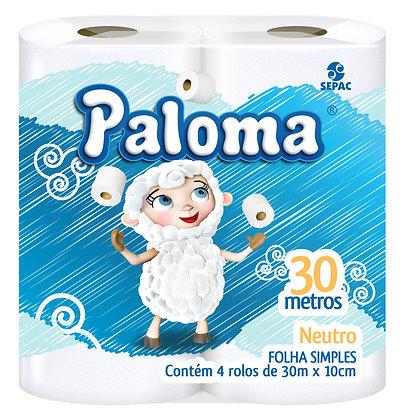 Papel Higiênico Paloma Folha Simples Pacote 4 rolos 30 metros