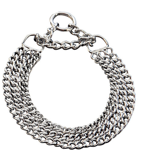 Herm Sprenger Triple Row Martingale Collar, round and fl at polished links