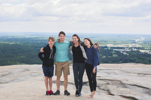 My siblings on top of Stone Mountain