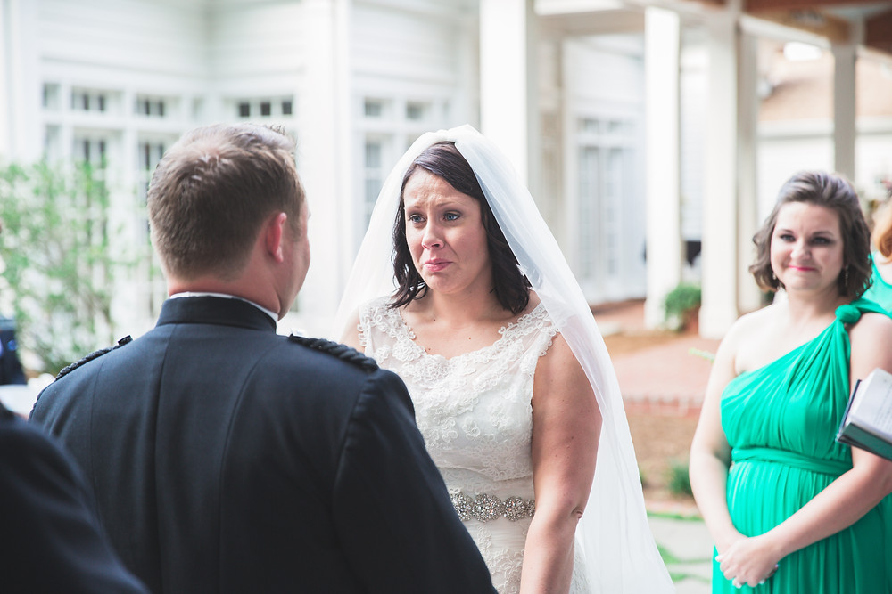 Emotional moment for bride