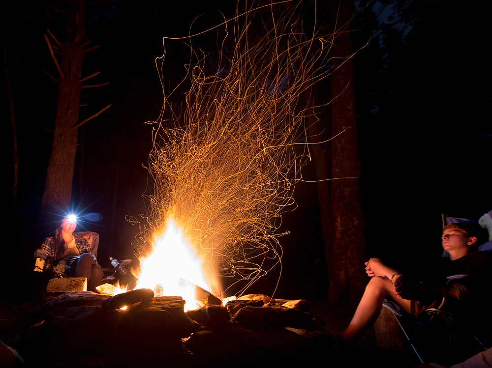 Long exposure campfire