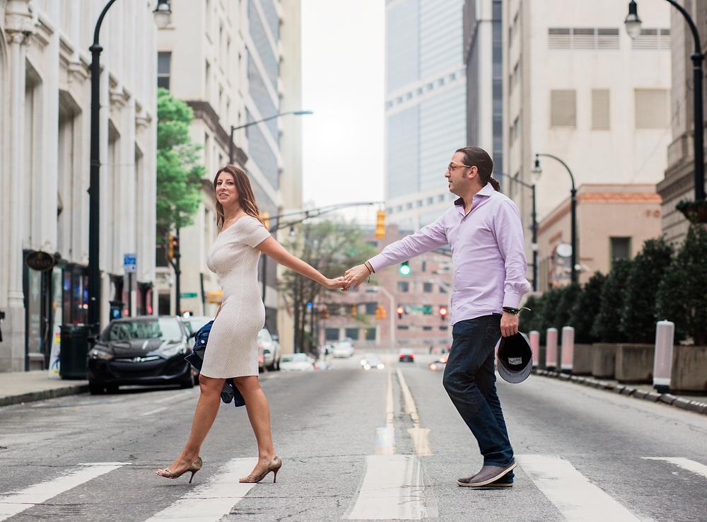 Crossing the street Atlanta engagement session