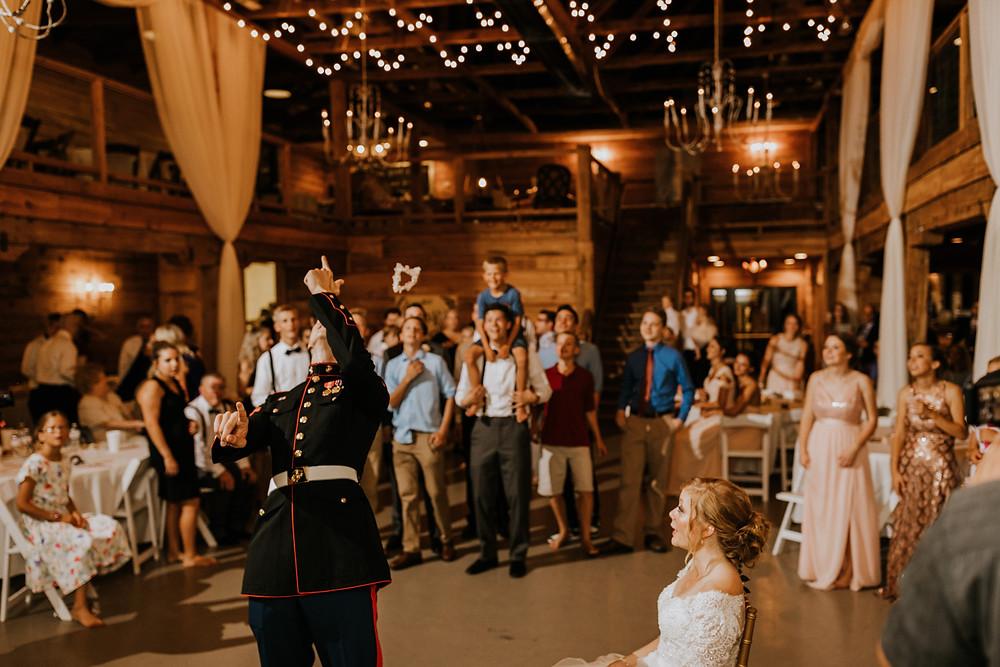 groom throws garter