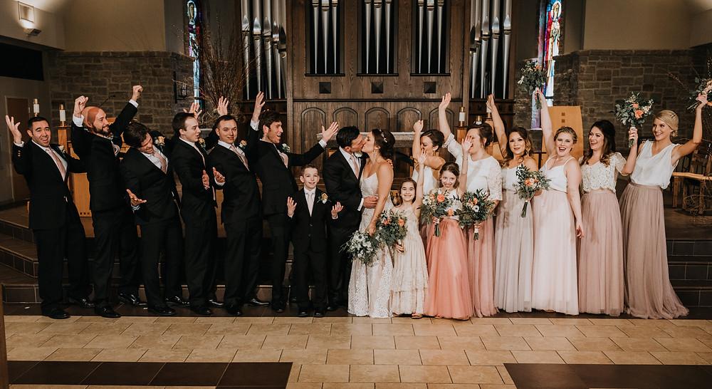 Full Wedding Party In Church