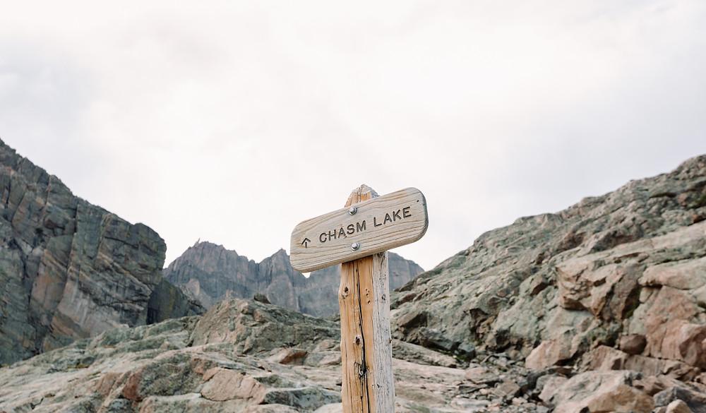 Chasm Lake sign
