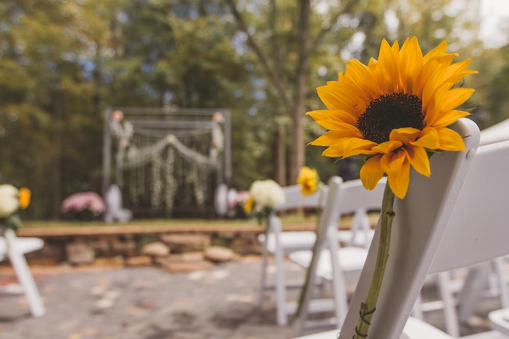 Sunflower wedding ceremony details