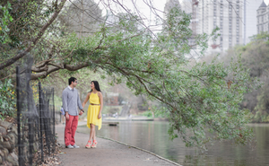 Yellow dress engagement session