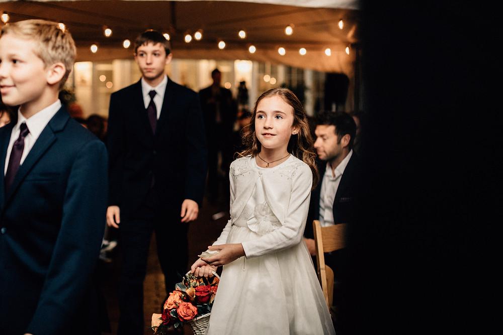 Bride's daughter flower girl