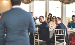 Bride sheds a tear during wedding speech